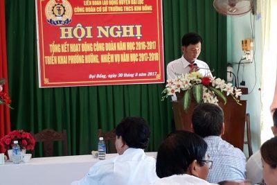 TRƯỜNG THCS KIM ĐỒNG TỔ CHỨC HỘI NGHỊ CÔNG ĐOÀN NĂM HỌC 2017-2018